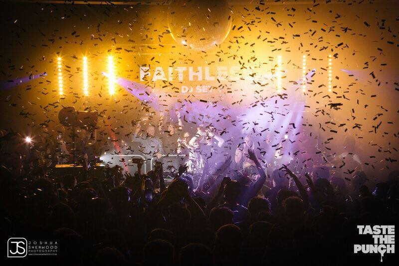 Lights and confetti over crowd